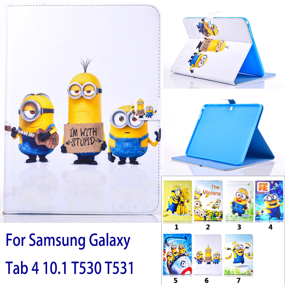Case For Samsung Galaxy Tab 4 10.1 T530 T531 Cartoon Lovely 7 Kinds Minions Patterns Tab ...