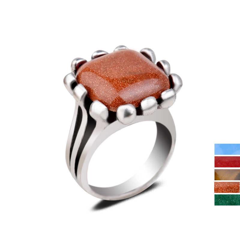 ธรรมชาติ Tiger Eye GoldSand หินแหวนเงินสีแดงสีเขียวหยกสแควร์รูปแบบดอกไม้คริสตัลแหวนสำหรับผู้หญิงเครื่องประดับบุรุษ
