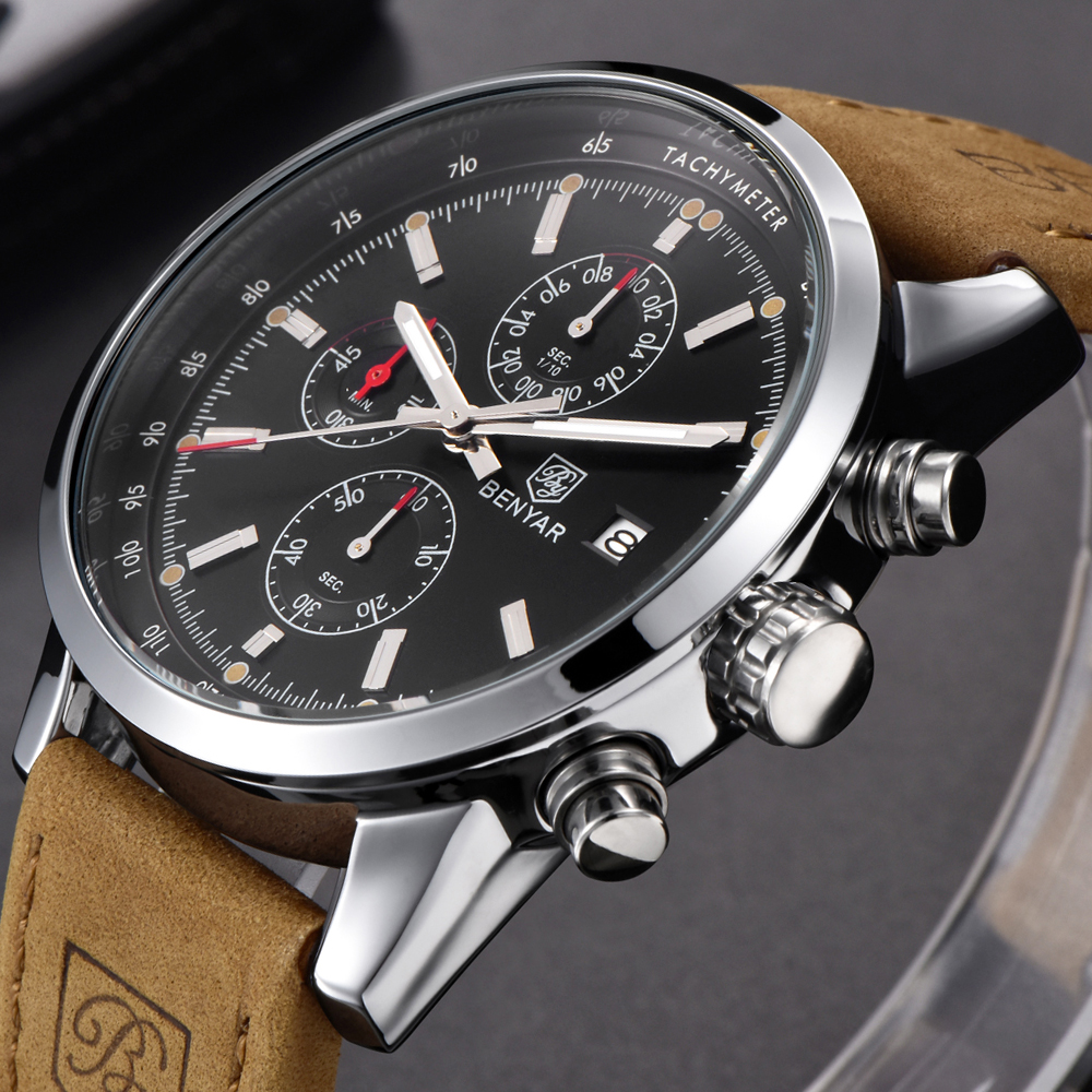 2018 Top Brand BENYAR Fashion Chronograph Sport Mens Watches Luxury Quartz Watch Reloj Hombre Clock Male hour relogio Masculino benyar sport chronograph fashion watch