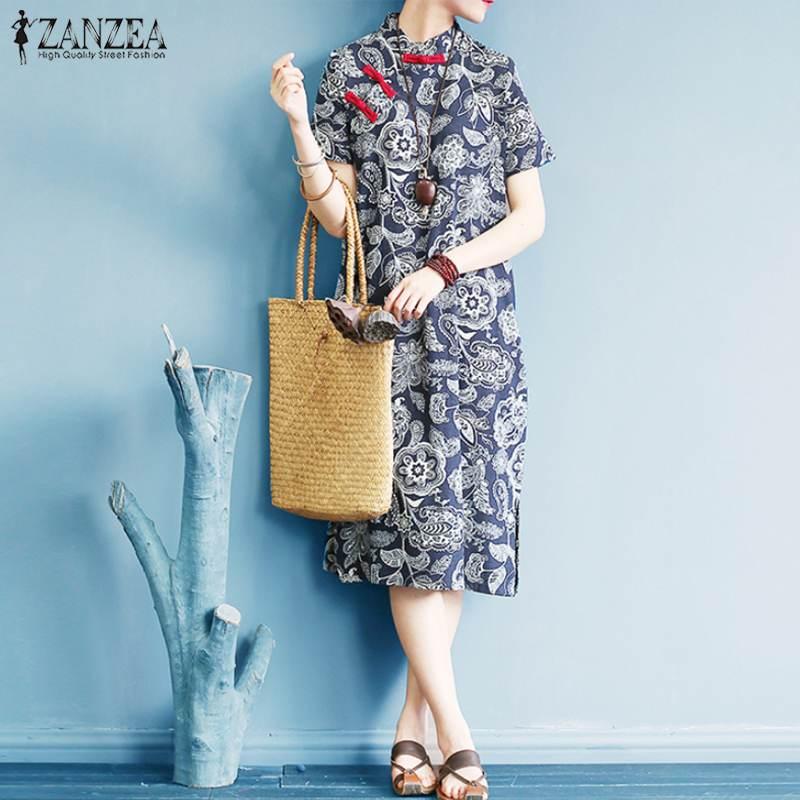 ZANZEA женское платье Чонсам с воротником-стойкой и пуговицами летний сарафан винтажное хлопковое традиционное китайское платье с цветочным ...