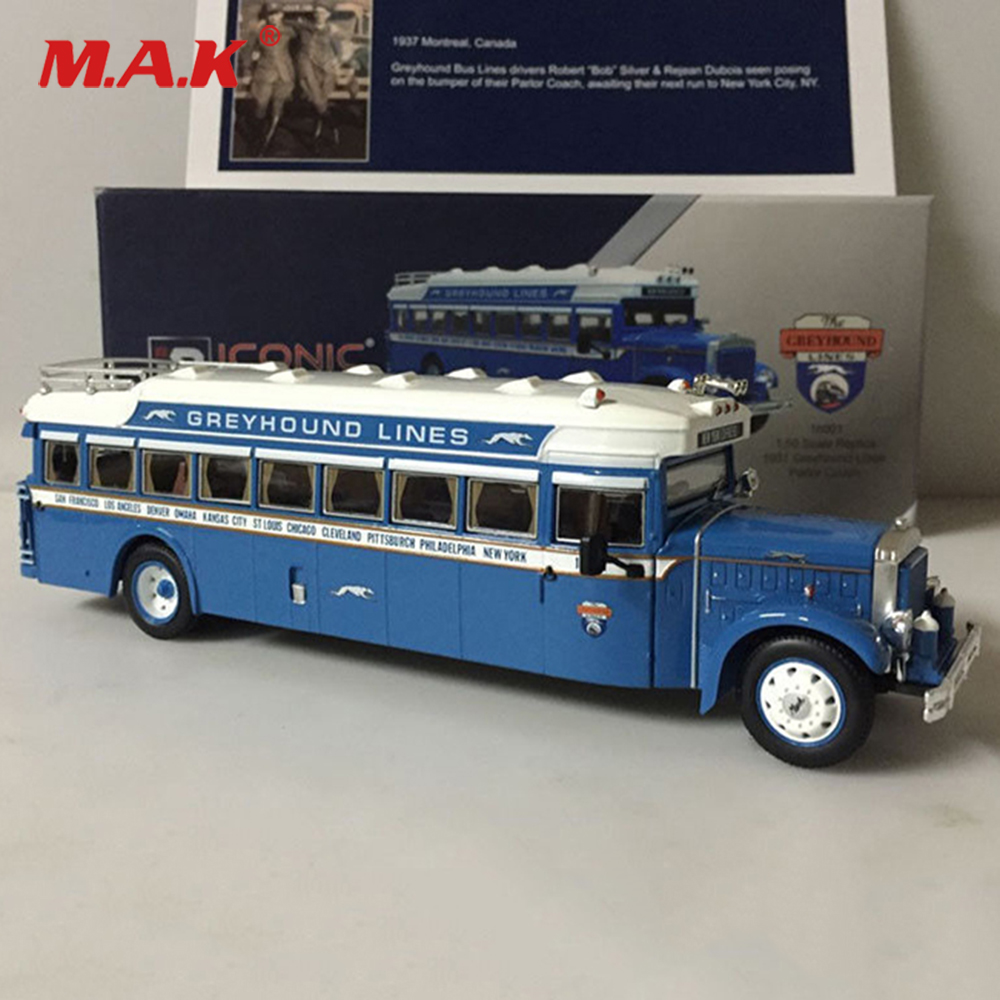 For Collection 1/50 Diecast Car Model Toy 1931 Mack 6-BK-3S Motorcoach Greyhound Lines Blue Bus Model Toys for Kid Children Gift 704201 000 [ data bus components dk 621 0438 3s]
