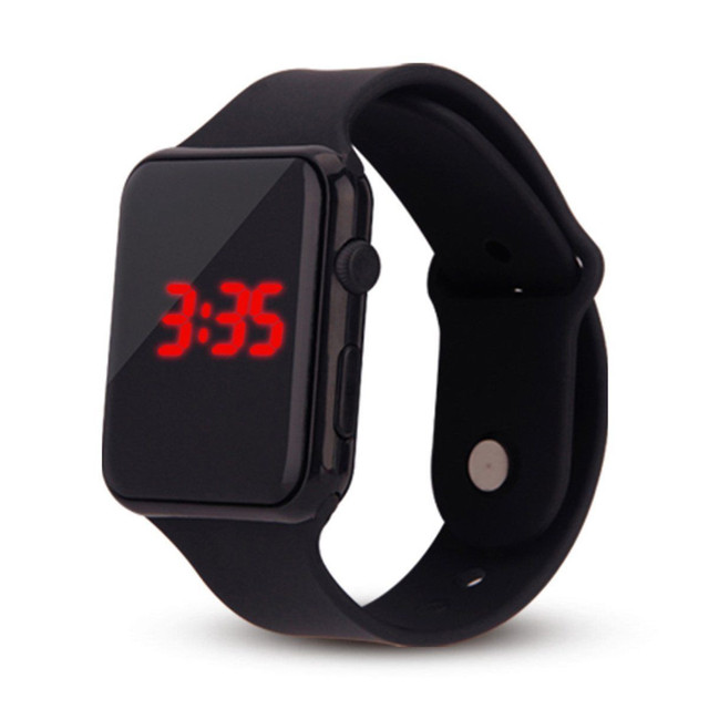 2018 New Unisex Digital LED Sports Watch Silicone Band Wrist Watches Men Childre