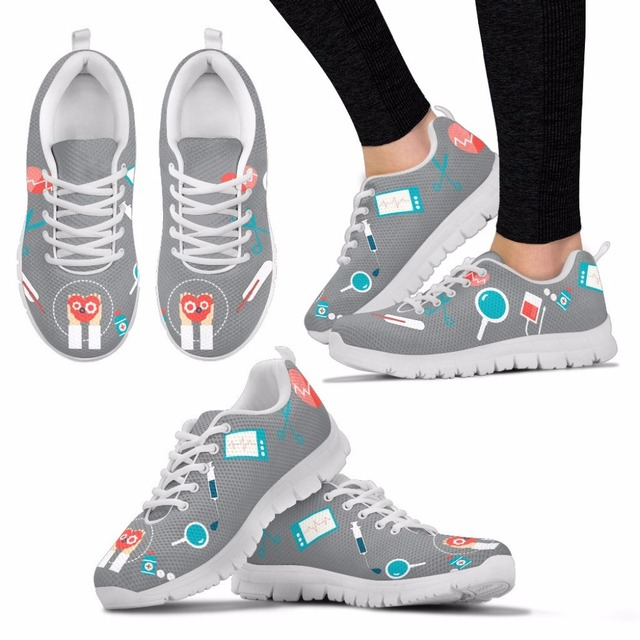 584598079ed6 US $28.99 42% OFF|INSTANTARTS Nurse Medical Pattern Women Running Shoes  Lightweight Mesh Sneakers for Lady Woman Outdoor Sport Walking Shoes  Girls-in ...