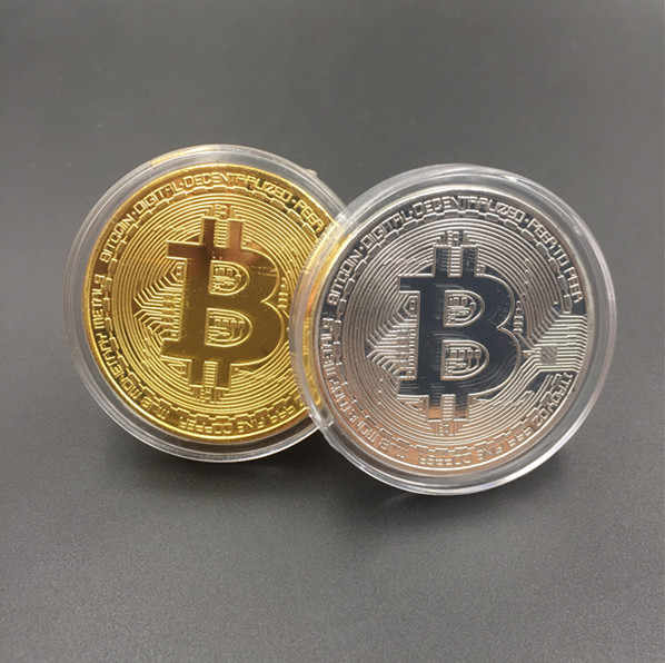 1PC Gold Plated Physical Bitcoins Casascius Bit Coin BTC With Case Gift Physical Metal Antique Imitation BTC Coin Art Collection