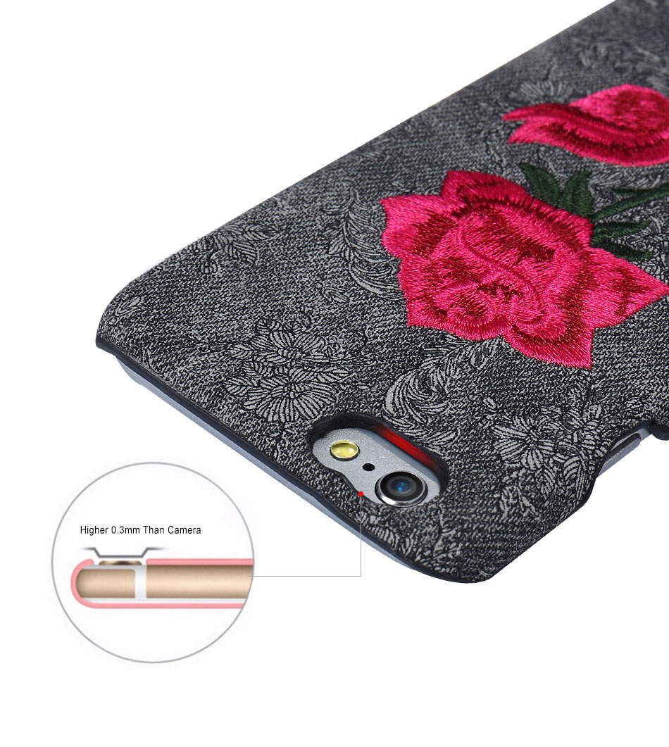 KISSCASE Beautiful Rose Flower Cover For Apple iPhone 6 6S Plus 7 7 Plus Case Fundas Coque Embroidery Pattern For iPhone 6 7 6S (7)