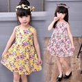 2017 Fashion Children Clothing Girls Floral Printed Dress 2-8Y Baby Kids Dresses Cute Sleeveless Children Colthes Girl Dress