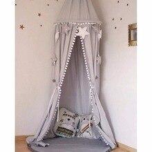 Пряжа шары детская кровать навес с помпонами Висячие/Москитная сетка для детской кроватки замок Игровая палатка детская игровая комната Декор