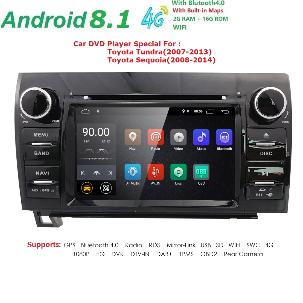 <font><b>Autoradio</b></font> <font><b>2</b></font> <font><b>din</b></font> <font><b>Android</b></font> <font><b>8.1</b></font> Multimedia Car DVD Player for Toyota Tundra Sequoia 2007 2008 2009 2010 2011 2012 2013 Stereo WIFI image