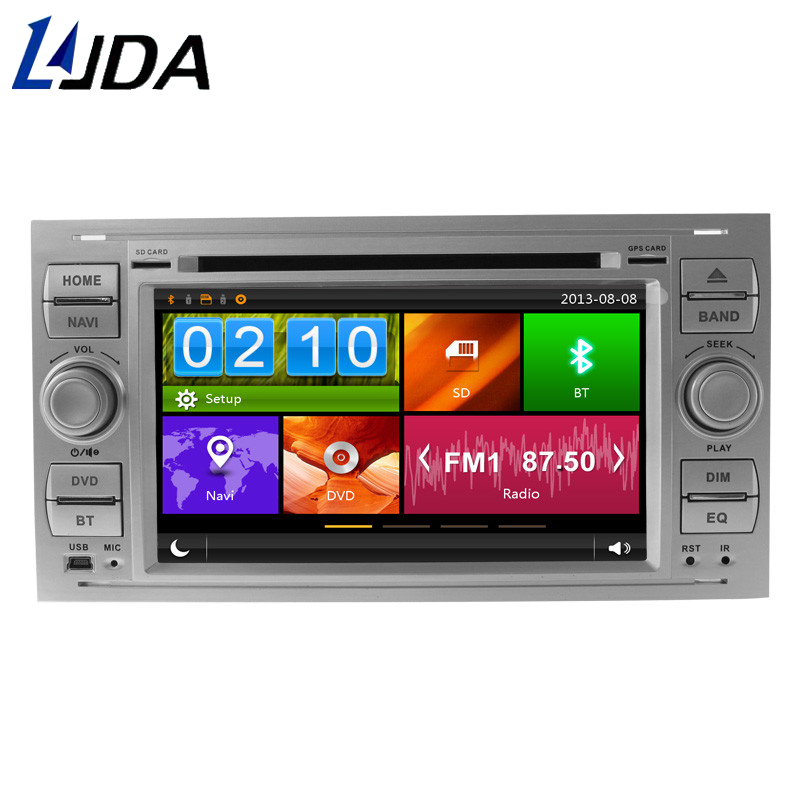 LJDA Two Din 7 Inch Car Radio For Ford Mondeo Focus Transit C-MAX S-MAX Fiesta GPS Navigation Multimedia DVD CD Player Map AUX