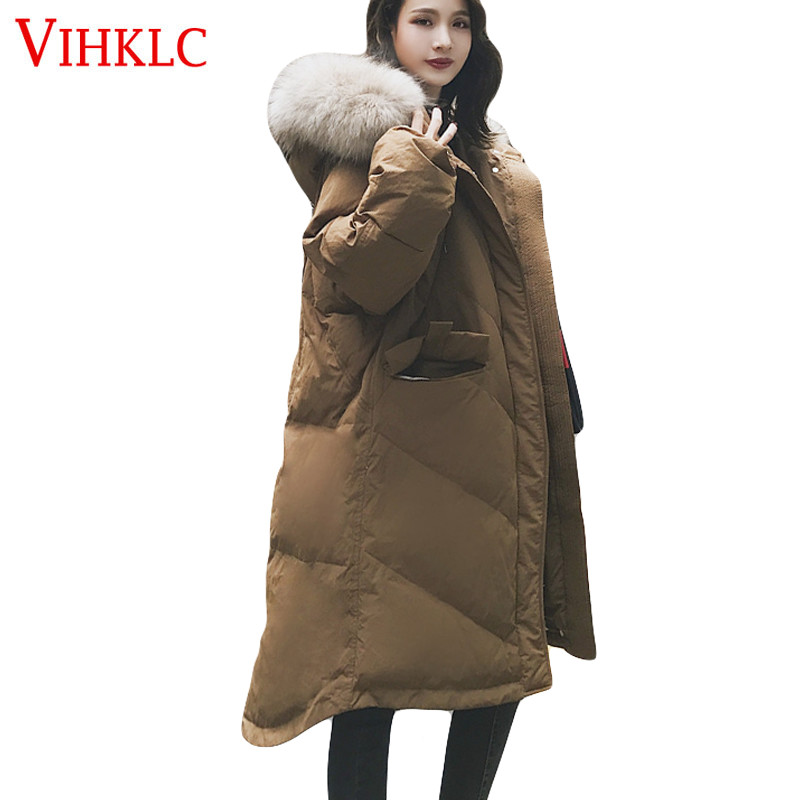 97292beff6ce Vers Col De Fur Veste Coton Casual Fourrure Coréenne Bas Épais Longue gray  2018 Nouvelle caramel Femmes ...