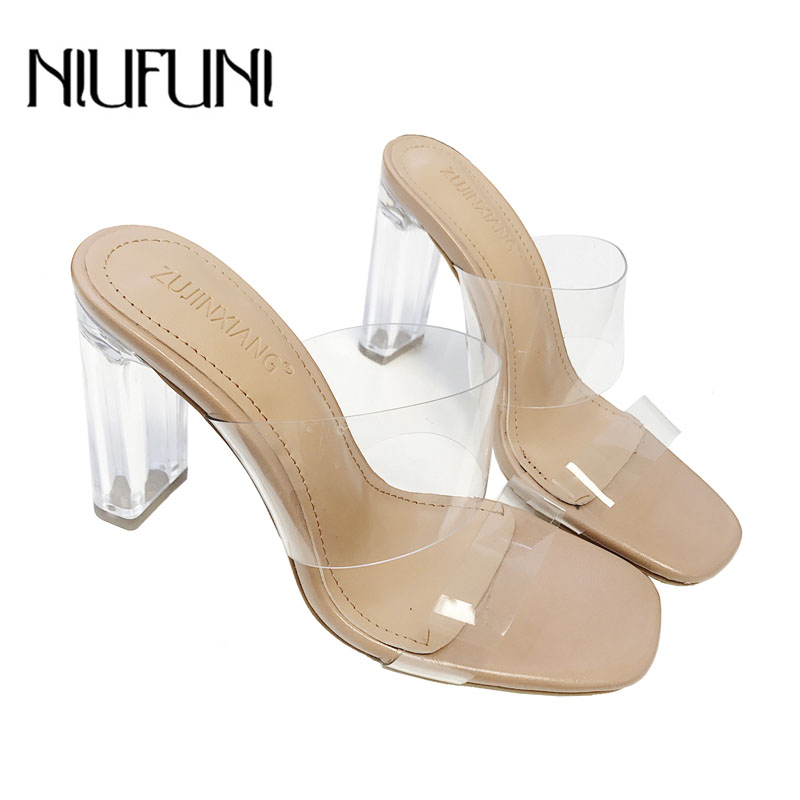 Genuine Leather Slipper Women Summer New Arrival Style Sandals Fashion Transparent Crystal High Heels Thick Heel Women's Shoes