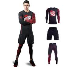 3 Pieces Men GYM Compress Fitness Sets Long Tee Top + Legging + Shorts Workout Exercise Sport Shirts Running Tights A206