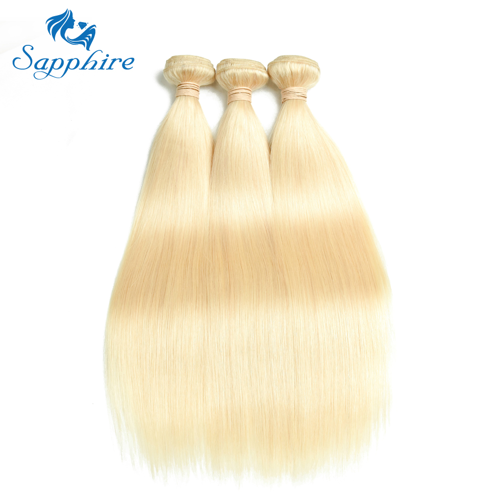 Sapphire Brazilian Straight Hair Bundles 613 Blonde Human Hair Weave 3PCS 613 Blonde Straight Human Hair Bundles For Hair Salon