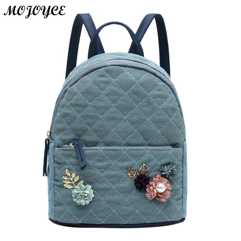 Flowers Backpack Women Shoulder Bag Fresh Style Teenage Girls School Bag Zipper Canvas Casual Small Rucksacks Fashion Hot Sale