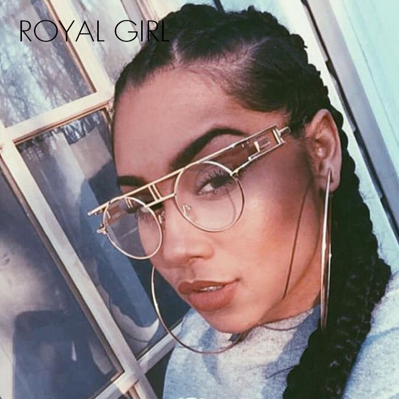ROYAL GIRL Kvalitet Metallram Steampunk Solglasögon Kvinnor Märke Designer Round Men Gothic Sun Glasses Vintage Eyeglasses ss211