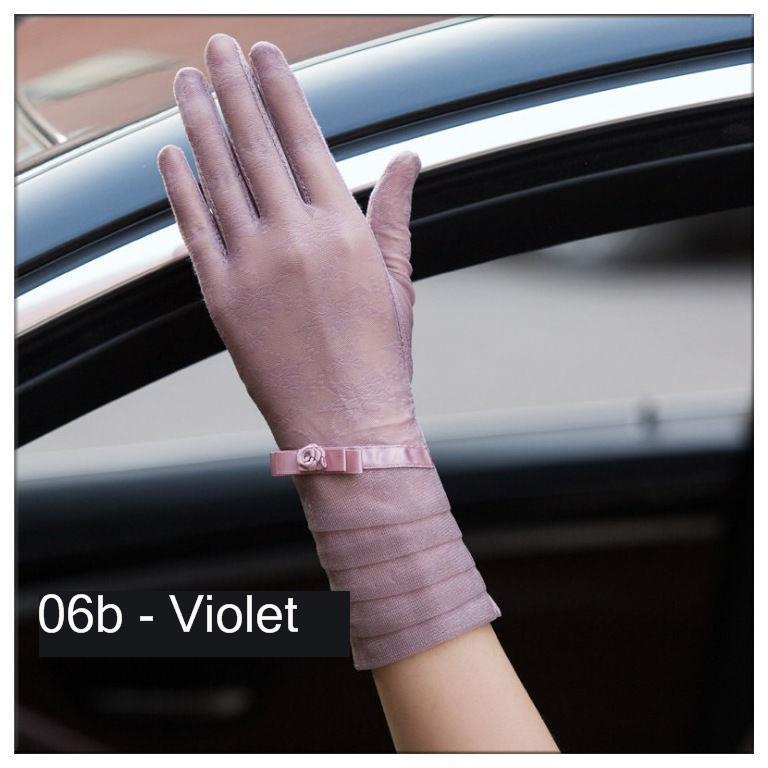 Women's Lace Hollow-Out Gloves Lace Sunscreen Gloves Summer Spring Lady Stretch Touch Screen Anti Uv
