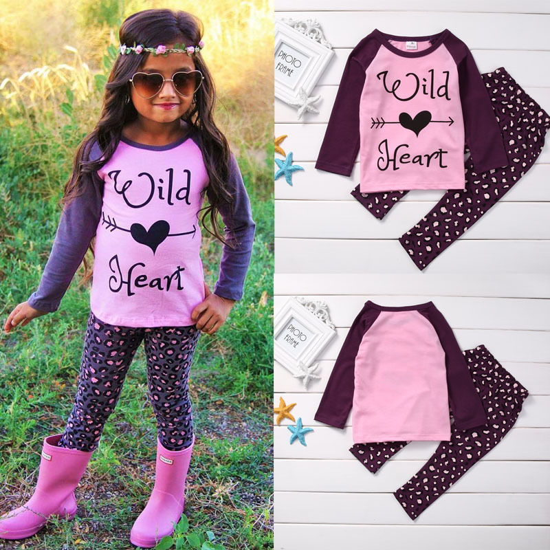 Baby Girl Kid Clothes Set Autumn Winter Toddler Shirt Top Long Sleeve Pants Clothes 2pcs Outfit Set Girls 1-6Y kid girl lace collar long sleeve pullover cotton base shirt top toddler 2 7y m78 new
