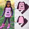 Bebê Menina Miúdo Roupas Definir Outono Inverno Criança Camisa Top de Manga Comprida Calças Roupas 2 pcs Set Outfit Meninas 1-6A