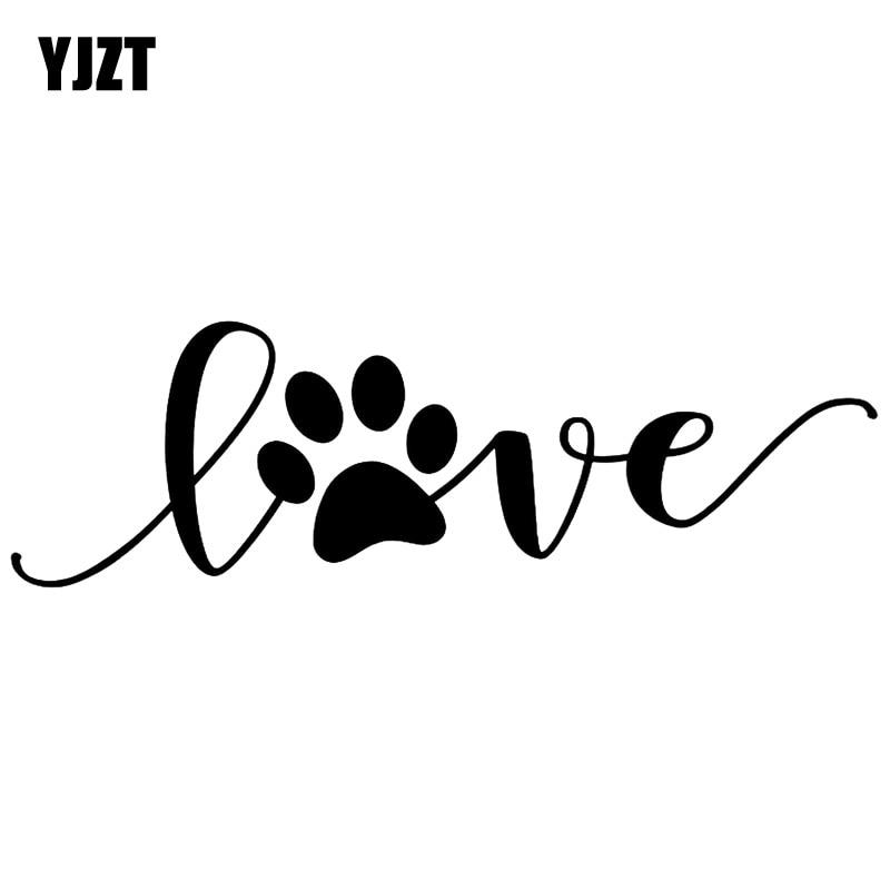 YJZT 12.7CM*3.9CM Love Dog Footprints Automobile Vinyl Sticker Decals Black/Silver C10-00405