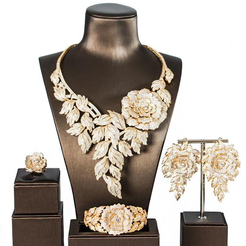 LAN PALAIS Simple style de luxe alliage de cuivre 5A cubique bijoux zircone ensemble boucles d'oreilles collier bague bracelet livraison gratuite