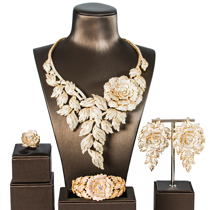 LAN Palacio estilo Simple de lujo aleación de cobre 5A cubic zirconia joyería set pendientes collar anillo pulsera envío libre