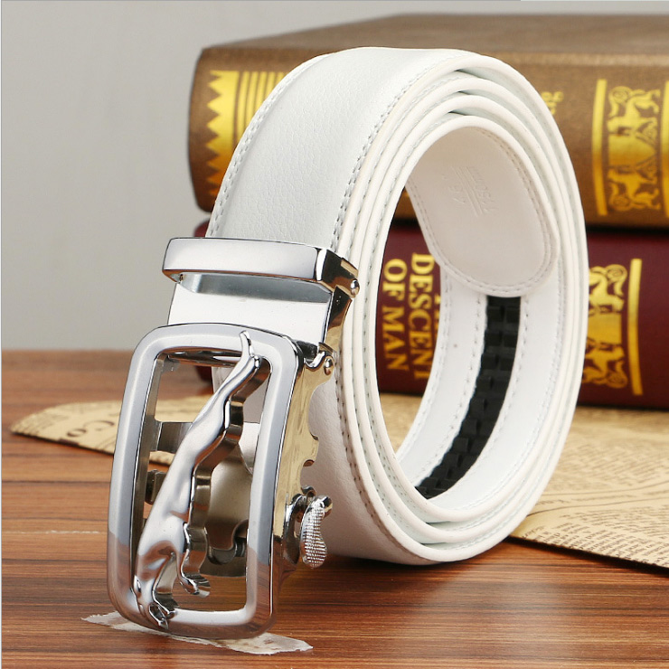 Men Waistband Luxury Leather Automatic Buckle Belt Casual Waist Strap Belts UW