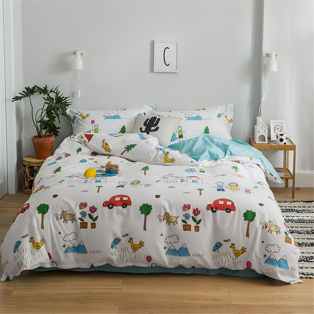 2019 Cartoon Cute Animals Duvet Cover Set Twin Queen King Flat Sheet or Fitted Sheet Soft Cotton Bedlinens Pillowcases-in Bedding Sets from Home & Garden    1