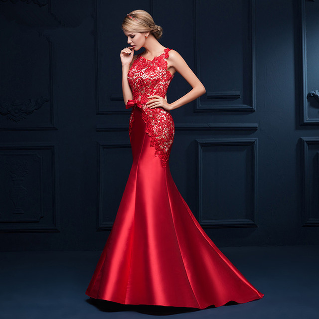 Evening dresses red lace tops