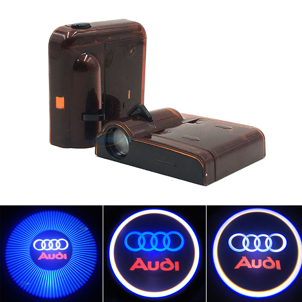 Wireless Control LED Car Door Projector Lights AAA Battery Powered Auto Door Welcome Lamp Decor Lighting Warning Signal Bulb