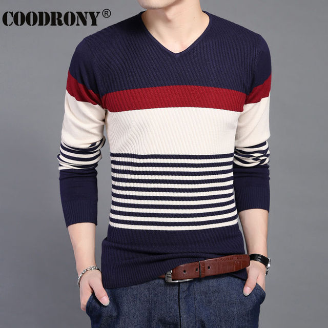 HS 2016 New Arrival Autumn Winter Cashmere Sweater Men Knitted Wool Pullover Men Fashion Striped V Neck Slim Fit Pull Homme 6647