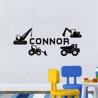子供車両と輸送ビニール壁ステッカーnameトラックステッカー取り外し可能な任意の名前壁デカール