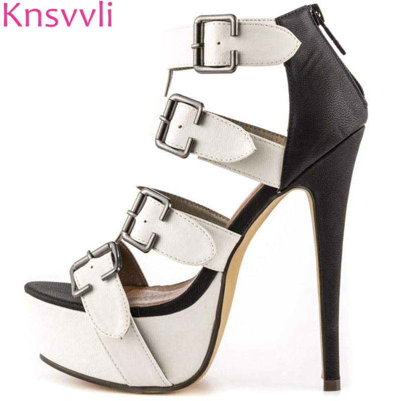Summer Women Sandals Extreme High Heels Rome Belt Buckle Zip Peep Toe Platform Black White Mixed Color Gladiator Sandals Woman women peep toe sandals summer platform wedge invisible high heels boots rome style side zip casual shoes woman silver blue white
