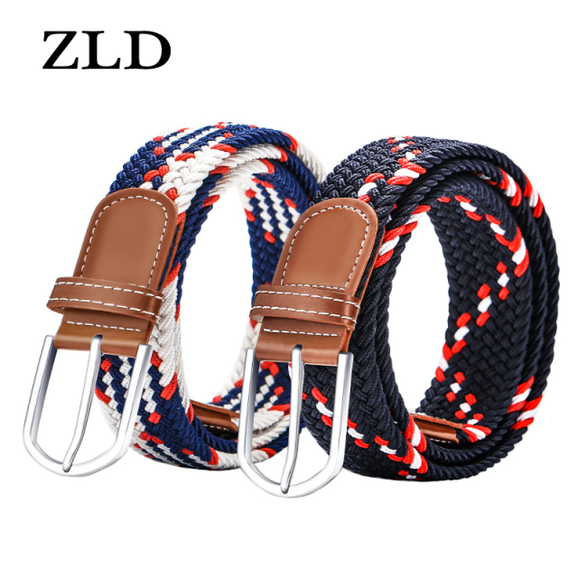 ZLD Hot Colors Men Women Casual Knitted pin buckle Belt Woven Canvas Elastic Stretch Belts Plain Webbing 2018 fashion 105-110cm