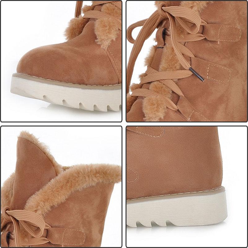 Antideslizante Invierno up Cálido brown pink Fanyuan Nieve Plana Lace Mujer Zapatos Felpa Botas Comodidad Black yellow Flock Sólido apricot Plataforma Tobillo 74dYqTdn