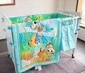 7 pcs fundamento do bebê set baby boy crib bedding set animal dos desenhos animados do bebê crib set, incluem (bumpers + capa de edredão + cama + cama saia)