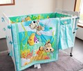 7 stks baby beddengoed set baby jongen wieg beddengoed set cartoon dier babybedje set, omvatten (bumpers + dekbed + bed cover + bed rok)