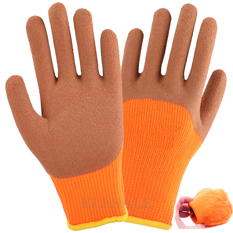 Winter Thermal Work Gloves Latex Rubber Coated For Anti-Skidding Garden Car Repairing Builder Hands Protection Safety Gloves цена