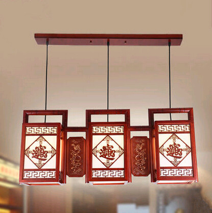 Chinese ancient carved bring in wealth pattern wood art Pendant Lights Bronzing flower pattern three lamps for bar&porch MYR031