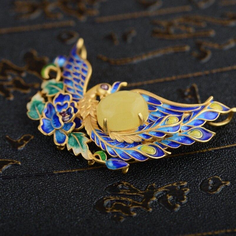 Cerf roi bijoux pendentif cire d'abeille S925 argent Phoenix porter pivoine antique Shaolan femme nouvelle technologie - 2