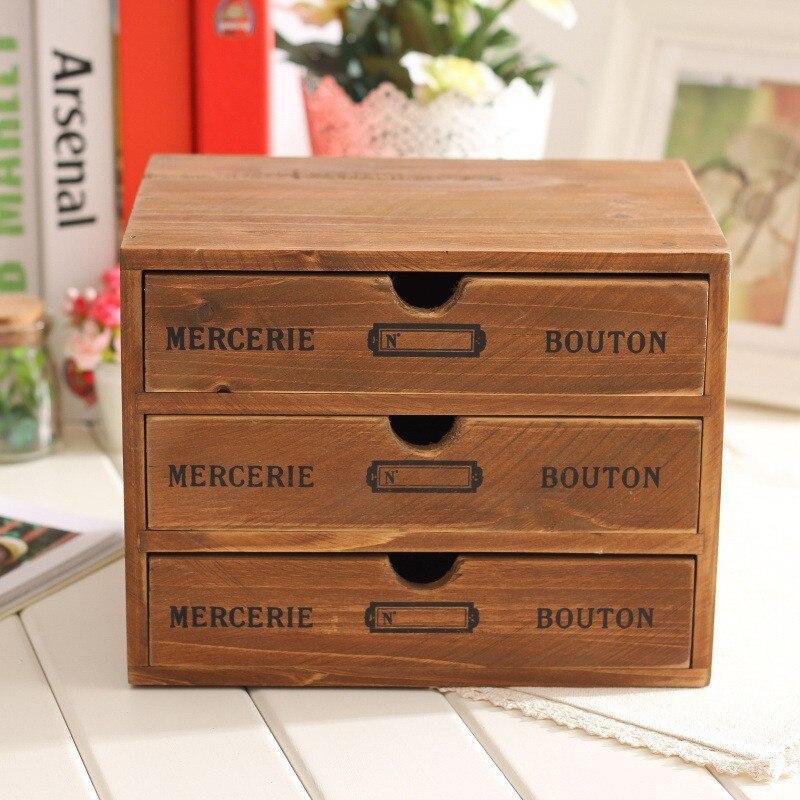 Rangement ménager organisation décoration bois boîte à cosmétiques Vintage en bois mallette de rangement tiroir maquillage boîte boîtes de rangement - 2