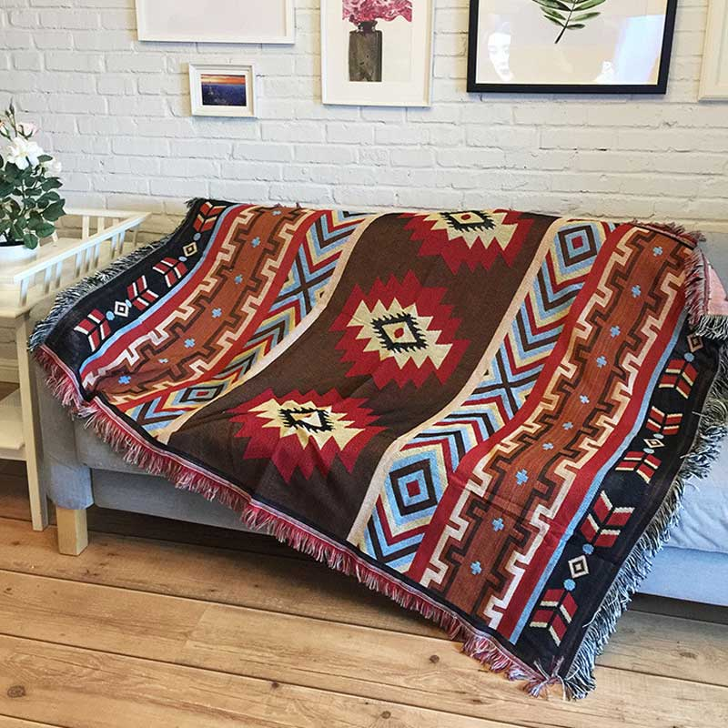 Prime Us 35 72 30 Off Cilected Geometric Cotton Woven Throw Blanket For Sofa Indian Mandala Tapestry Wall Hanging Living Room Decor Thick Sofa Cover In Pabps2019 Chair Design Images Pabps2019Com