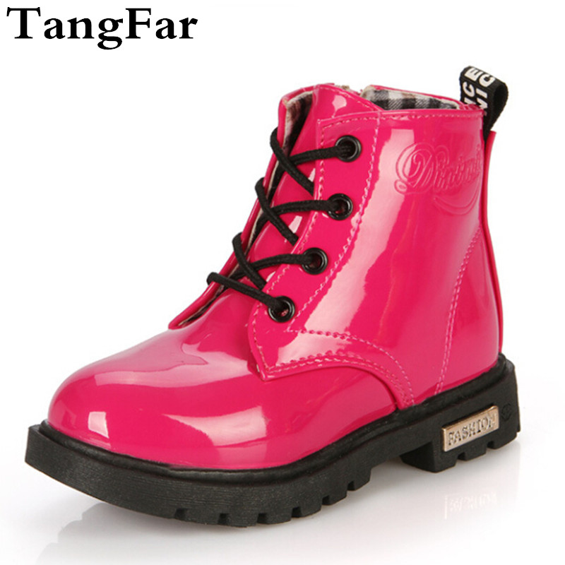 Spring Boys Girls PU Leather  Boots Waterproof Fashionable Rubber Boots For Toddler Kids Motorcycle Botas Children Shoe