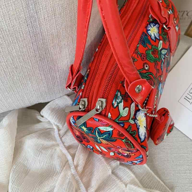 Moda Floral Impressão Bolsa de Ombro para As Mulheres Bolsas de Senhoras Elegantes Top-alça Sacos de Praia PU Bolsas de Couro Pequenas Bolsas feminina