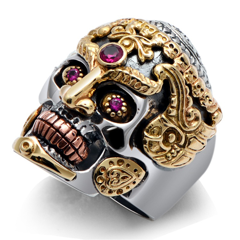 Real Solid 925 Sterling Silver Large Skull Rings for Men Yellow Gold Color Vintage Gothic Punk Thai Silver Ring Paved Red Garnet xiagao cool punk real 316l stainless steel red ring men s big red crystal red stones finger rings for man gothic casting ring