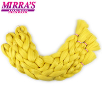 Mirra's Mirror Pure Color Braiding Hair Extensions 82inches Synthetic Hair Crochet Hair Braids 165g/pack Black Pink Yellow
