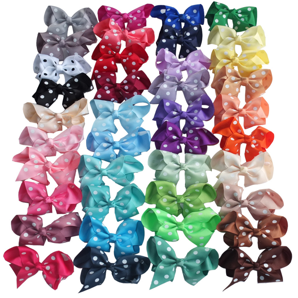 40 colors Available 4 Inch Polka Dots Hair Bow Hair clips Hairpins Hairgrips School hair bow Headwear U Pic Colors
