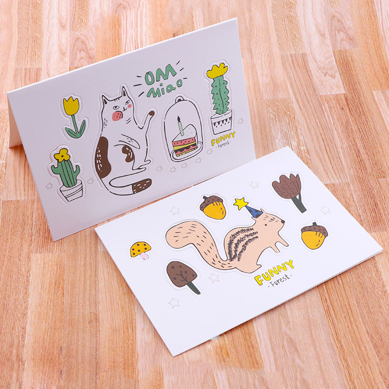 4PCS Creative Forest Animals Cartoon 3D Greeting Card Postcard Birthday Gift Card Set Message Card Letter Envelope Gift Card