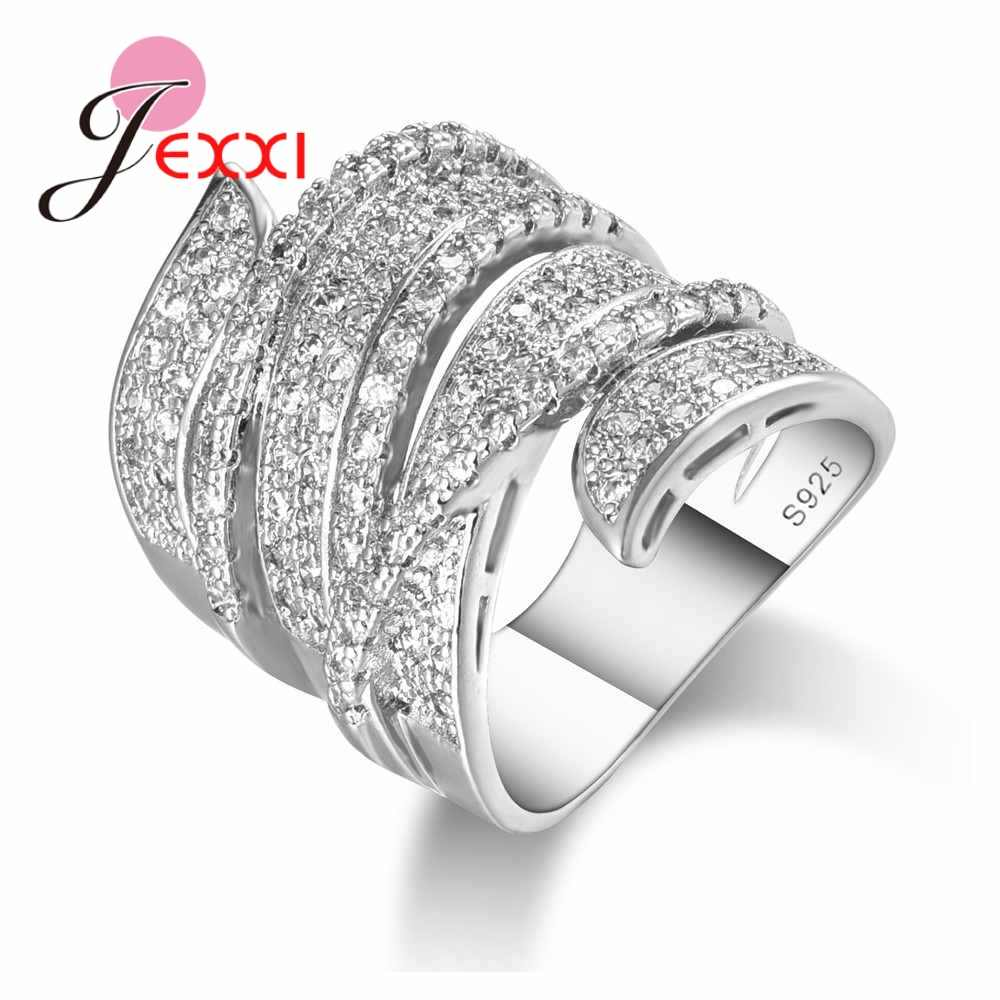 925 Silver -Silver-Jewelry Micro Inlay Full White Crystal for Women New Stylish Hollow Wide Band Ring Punk Type Original