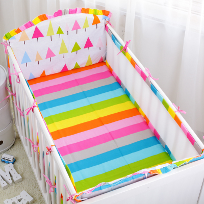 6pcs Indian Panda Pattern Baby Cot Bedding Set Breathable Mesh Crib Per Liner