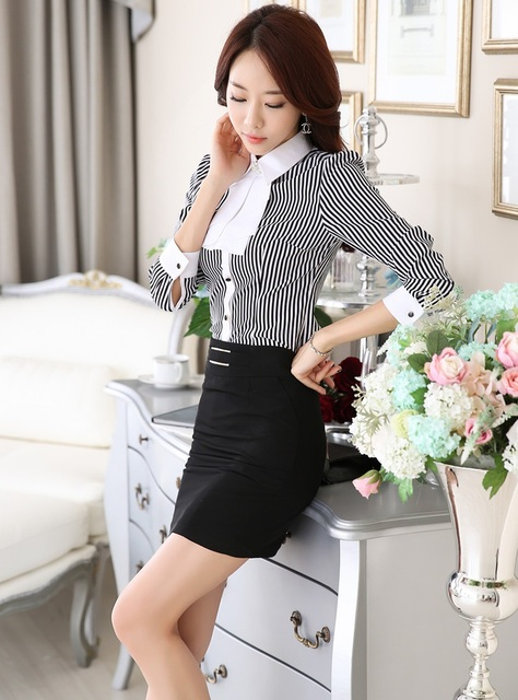 New Fashion Elegant Striped Color Uniform Styles 2015 Spring Autumn Professional Business Suits Tops And Skirt Ladies Shirts Set